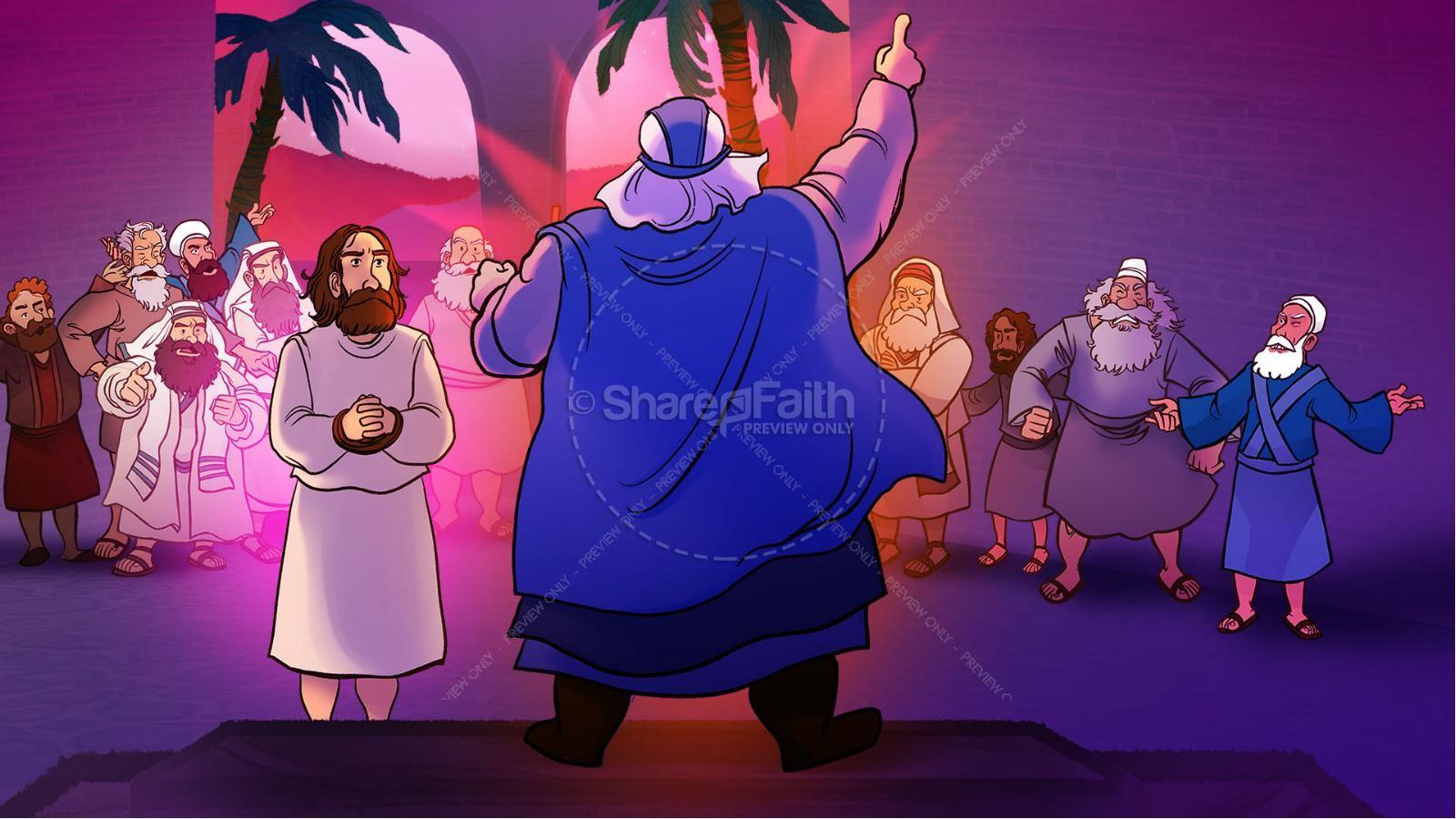 Matthew 26 Jesus Before the Sanhedrin Kids Bible Story   slide 5