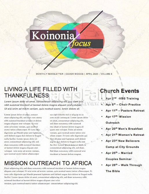 Overcome Church Monthly Newsletter | page 1