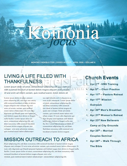 The Path Blue Church Newsletter | page 1