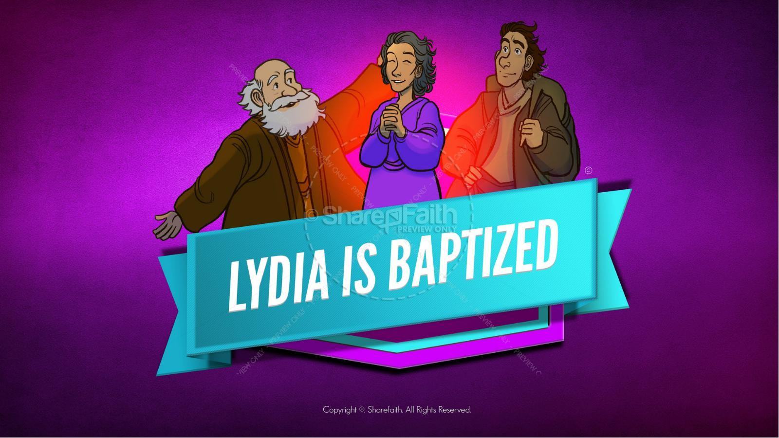 Acts 16 Lydia is Baptized Kids Bible Story | slide 1