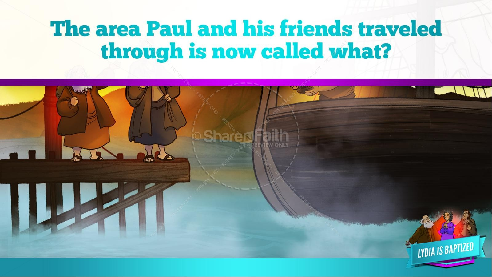 Acts 16 Lydia is Baptized Kids Bible Story | slide 11