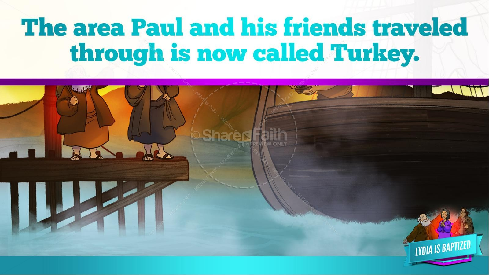 Acts 16 Lydia is Baptized Kids Bible Story | slide 12