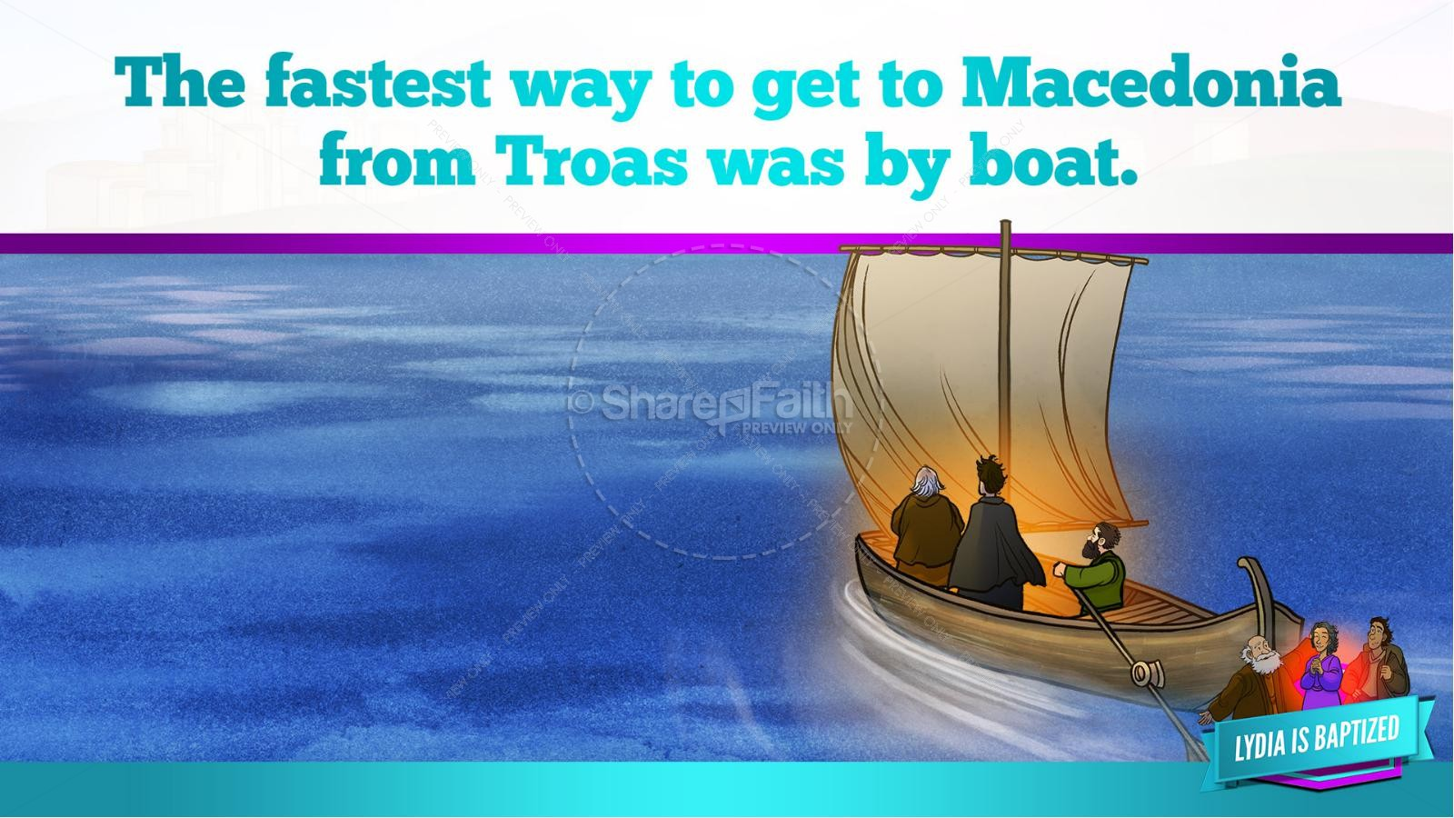 Acts 16 Lydia is Baptized Kids Bible Story | slide 20
