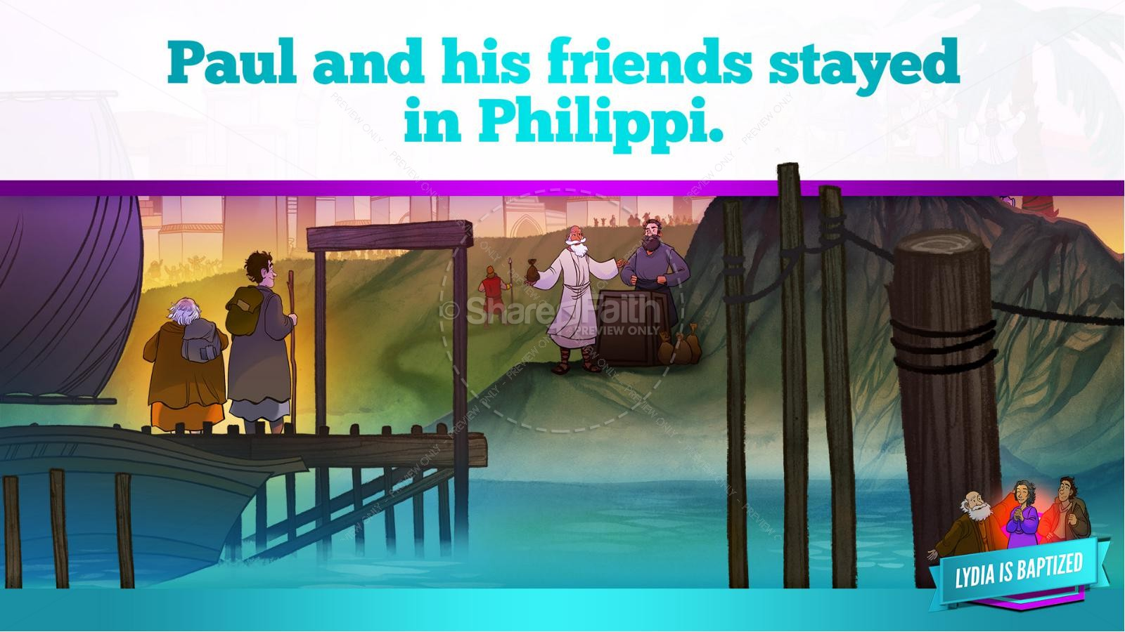 Acts 16 Lydia is Baptized Kids Bible Story   slide 24