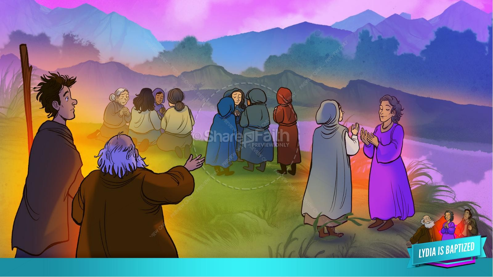 Acts 16 Lydia is Baptized Kids Bible Story   slide 26