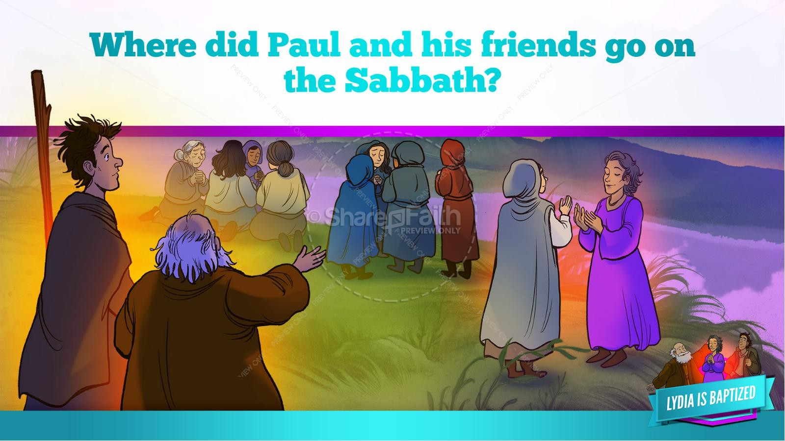 Acts 16 Lydia is Baptized Kids Bible Story | slide 27
