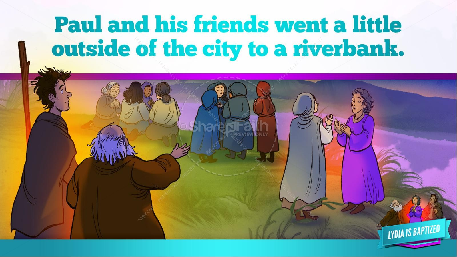 Acts 16 Lydia is Baptized Kids Bible Story | slide 28