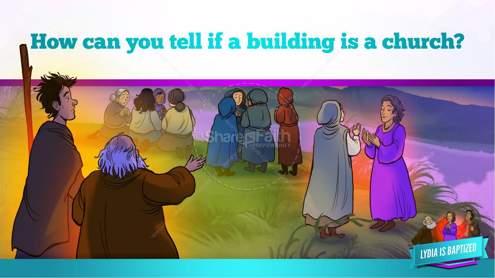 Acts 16 Lydia is Baptized Kids Bible Story | slide 29