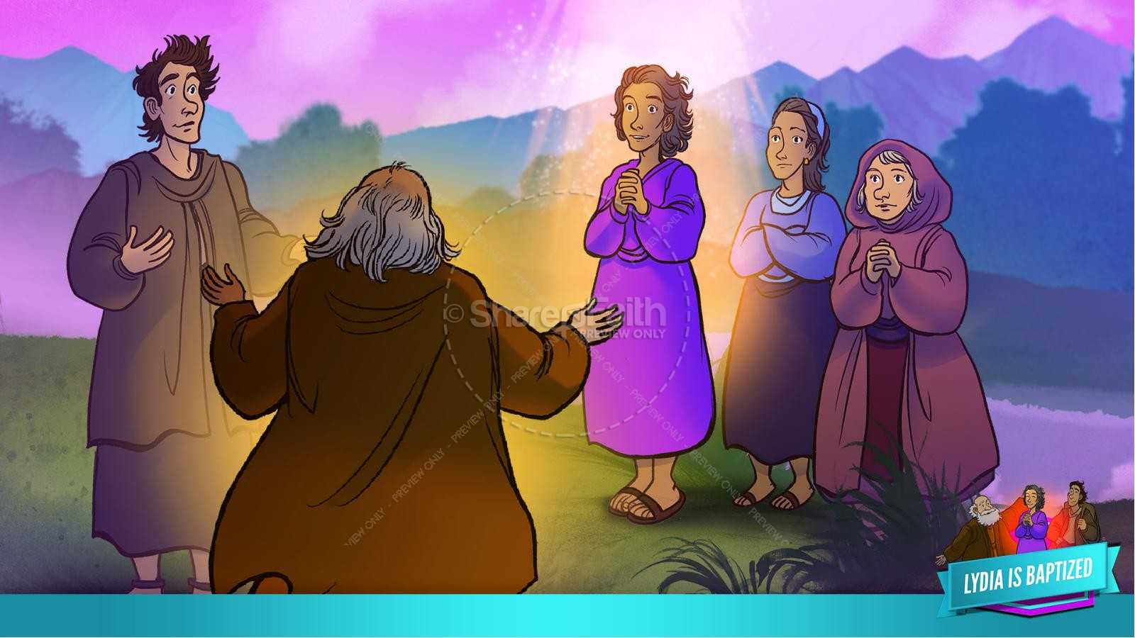 Acts 16 Lydia is Baptized Kids Bible Story | slide 30
