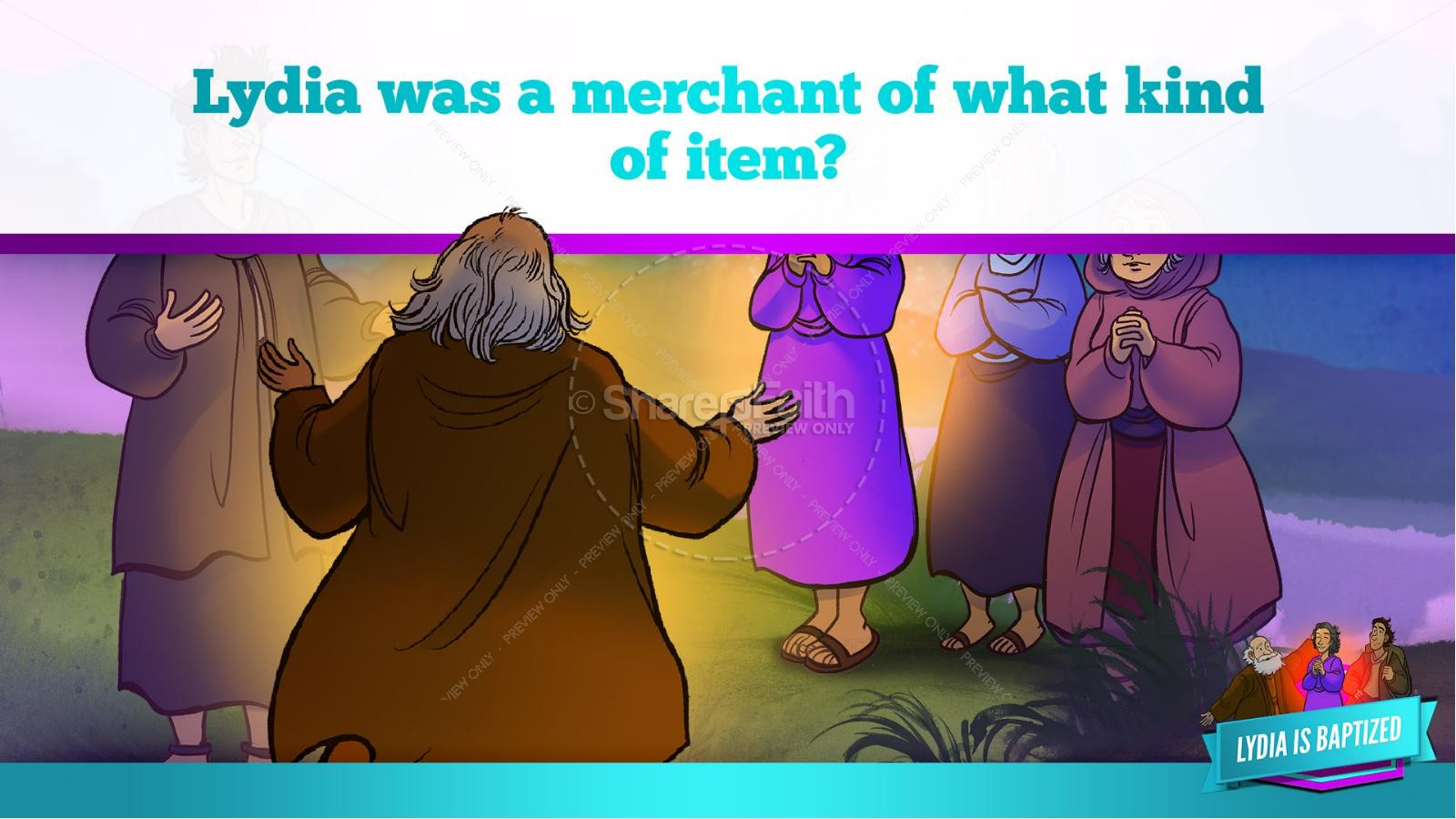 Acts 16 Lydia is Baptized Kids Bible Story | slide 31