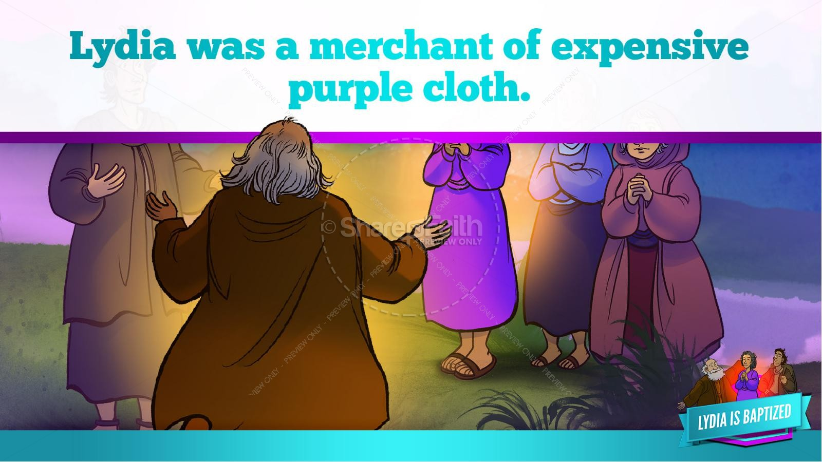 Acts 16 Lydia is Baptized Kids Bible Story | slide 32