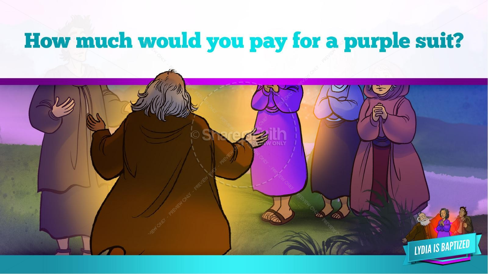 Acts 16 Lydia is Baptized Kids Bible Story   slide 33