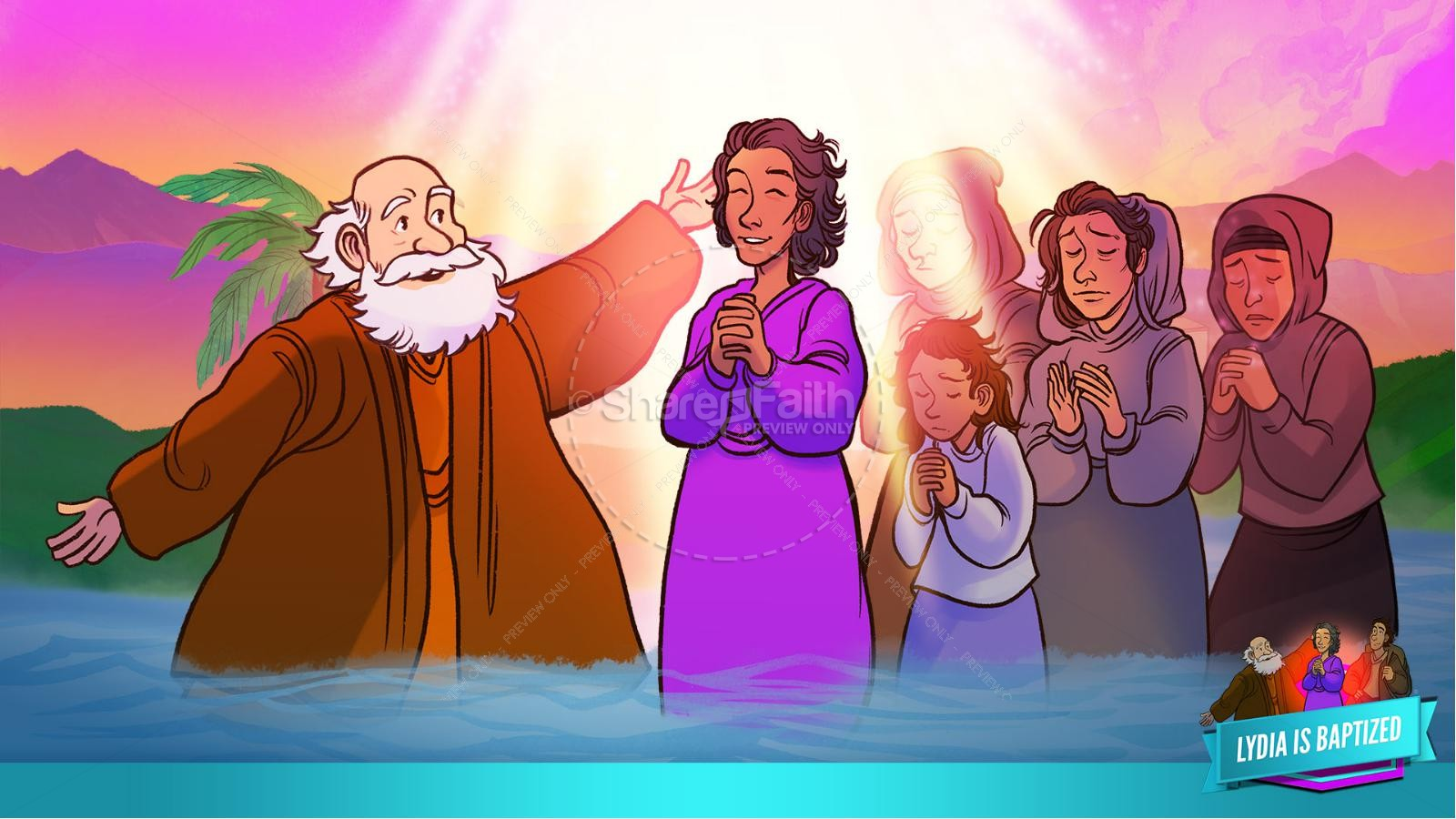 Acts 16 Lydia is Baptized Kids Bible Story | slide 34