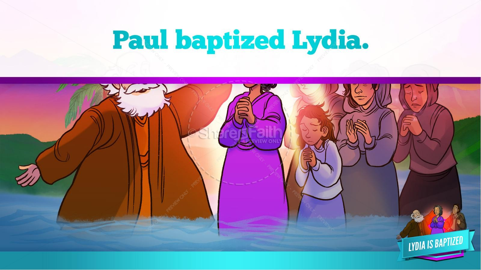 Acts 16 Lydia is Baptized Kids Bible Story | slide 36