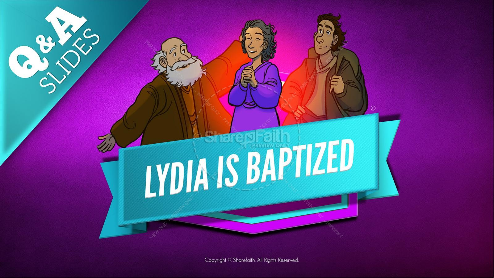 Acts 16 Lydia is Baptized Kids Bible Story | slide 9