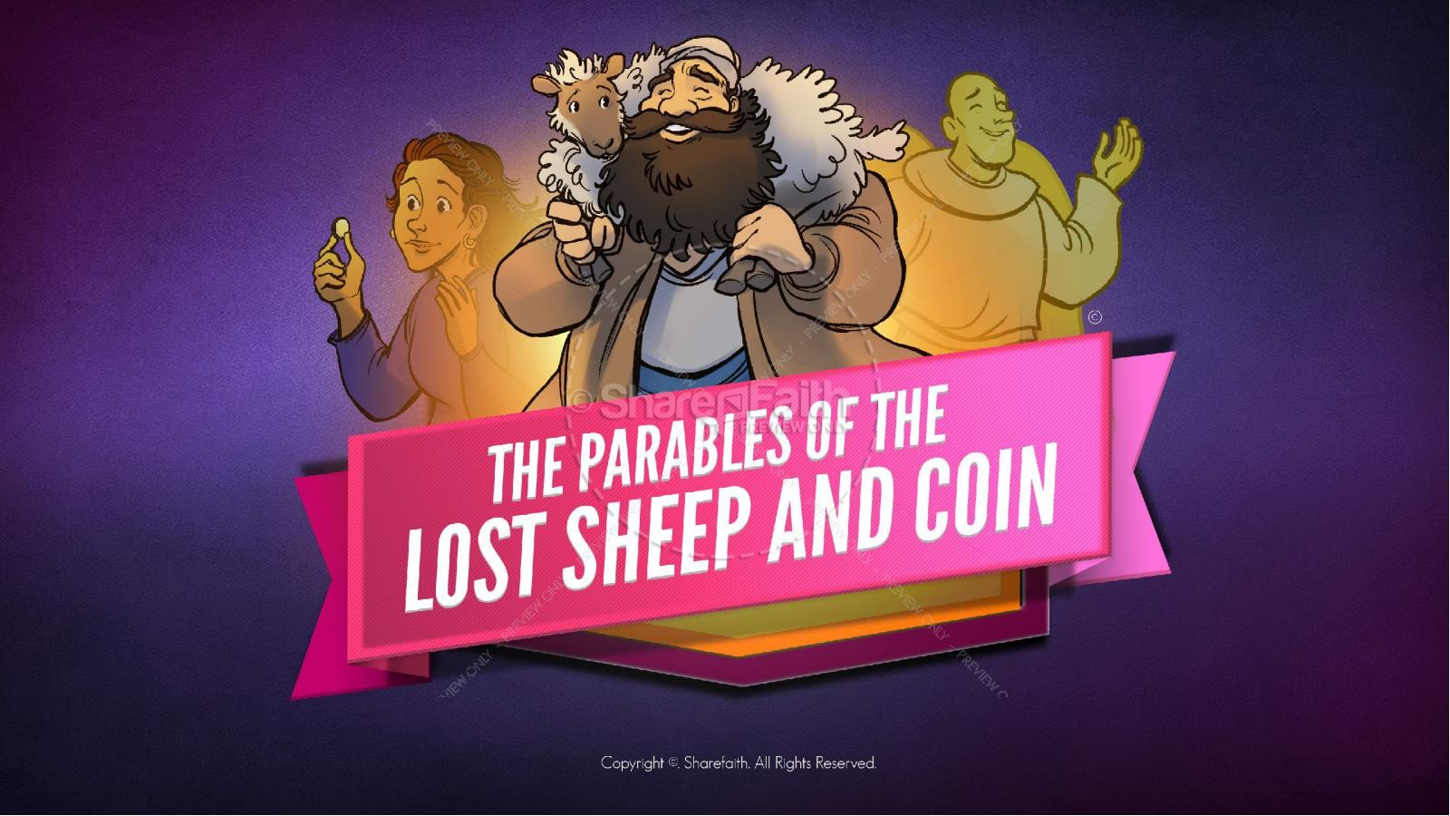 Luke 15 The Parables of the Lost Sheep and Coin Kids Bible Story | slide 1