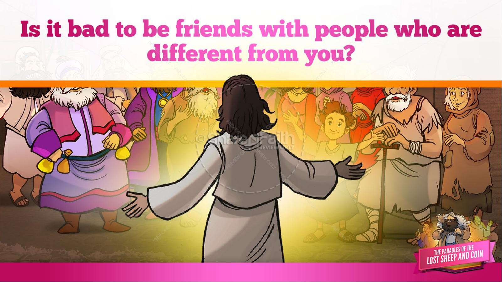 Luke 15 The Parables of the Lost Sheep and Coin Kids Bible Story | slide 13
