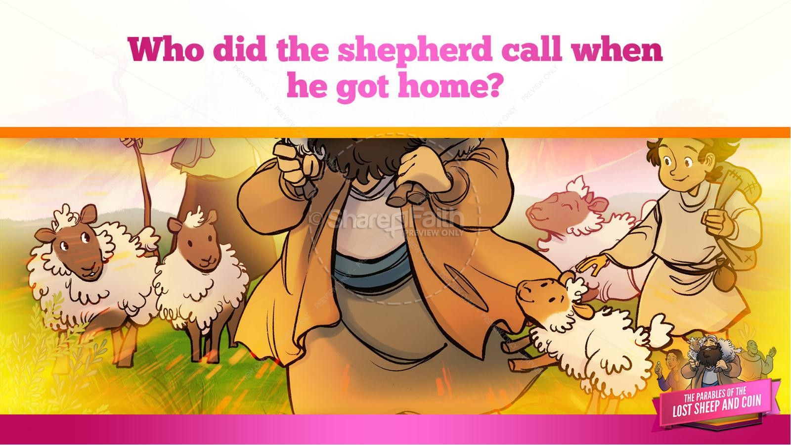 Luke 15 The Parables of the Lost Sheep and Coin Kids Bible Story | slide 19