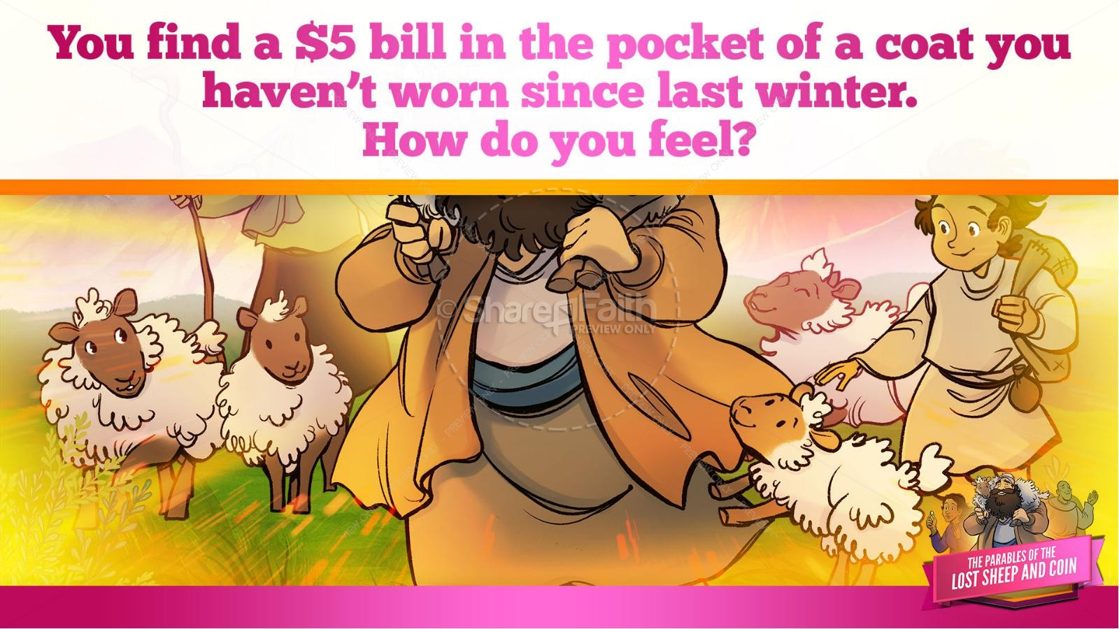 Luke 15 The Parables of the Lost Sheep and Coin Kids Bible Story | slide 21