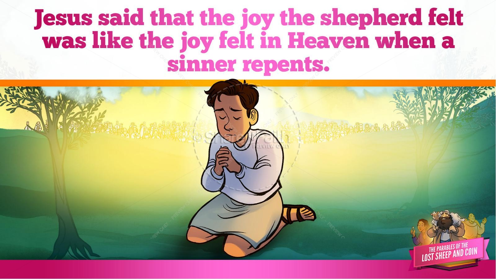 Luke 15 The Parables of the Lost Sheep and Coin Kids Bible Story | slide 24