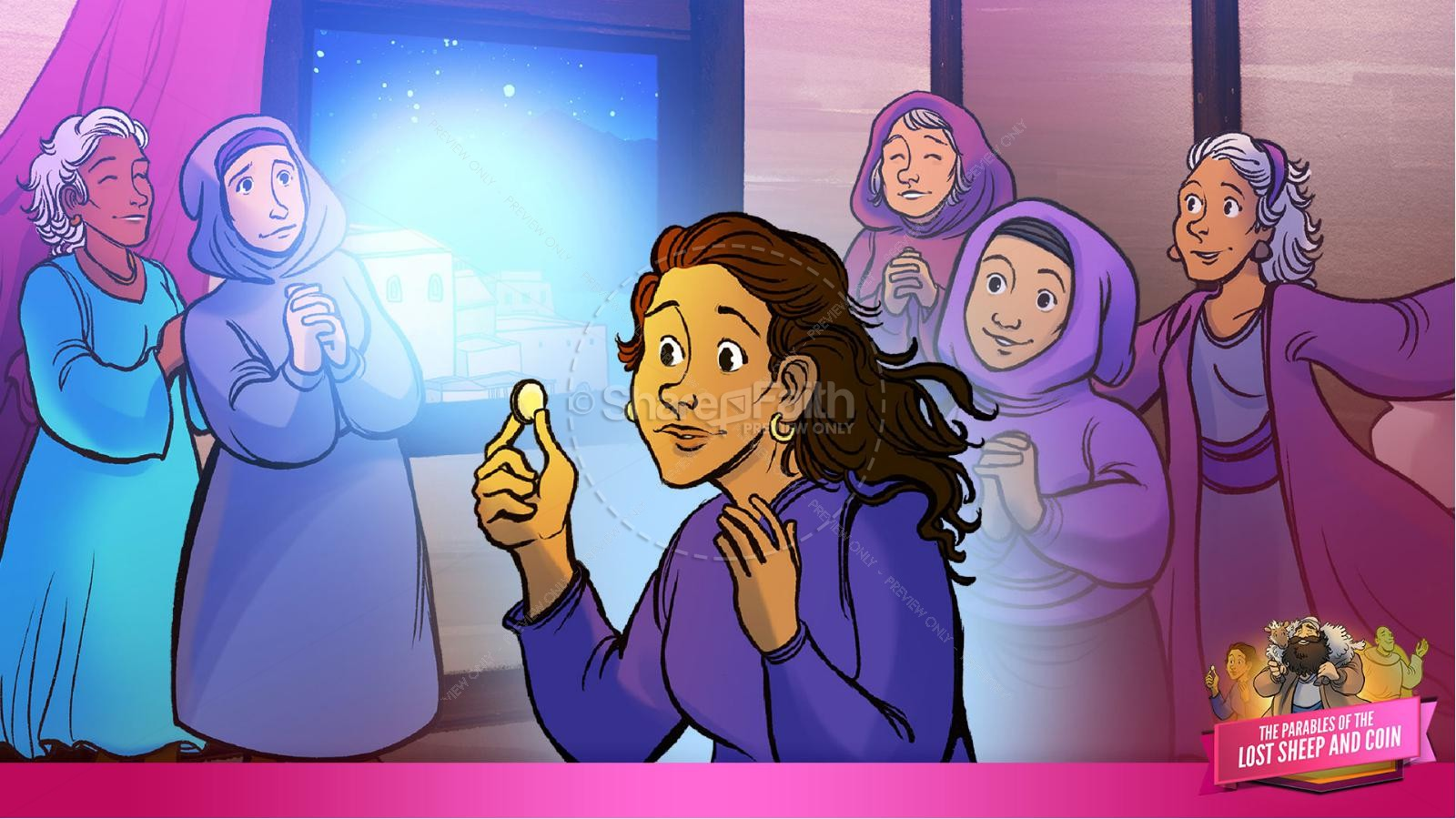 Luke 15 The Parables of the Lost Sheep and Coin Kids Bible Story | slide 30