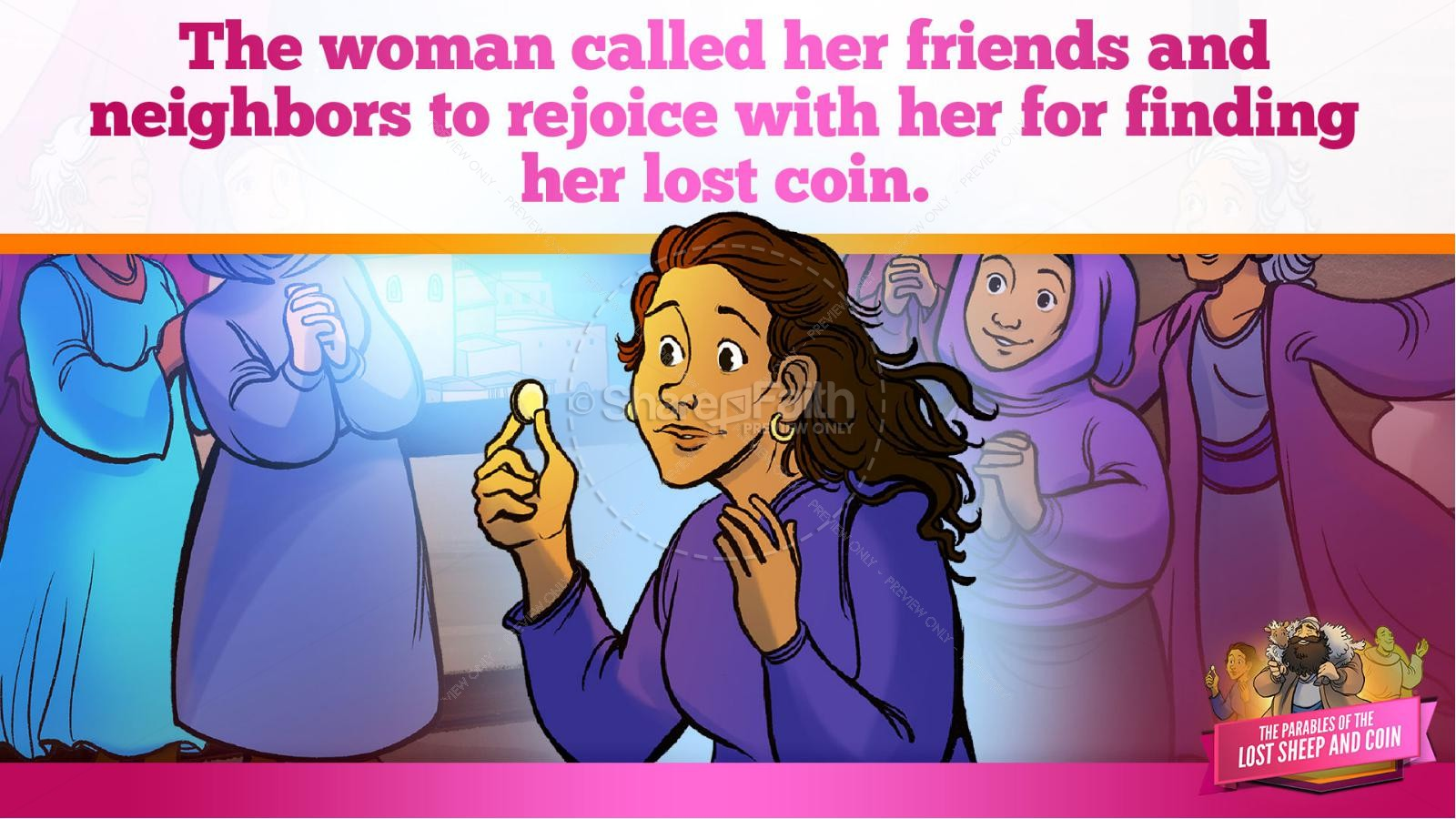 Luke 15 The Parables of the Lost Sheep and Coin Kids Bible Story | slide 32
