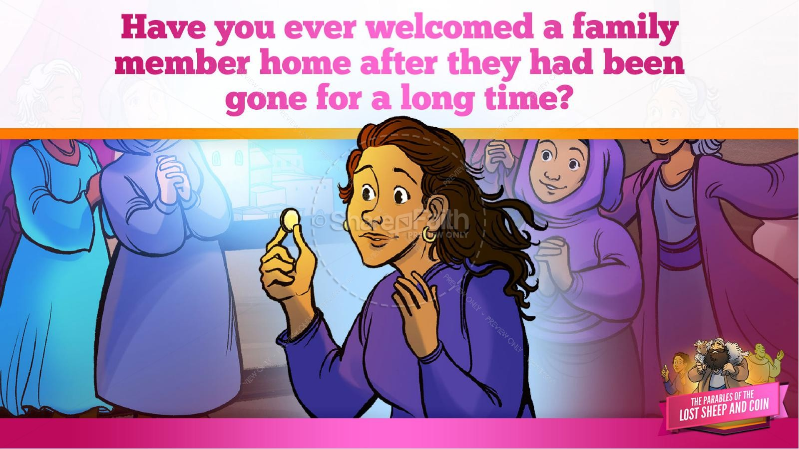 Luke 15 The Parables of the Lost Sheep and Coin Kids Bible Story | slide 33