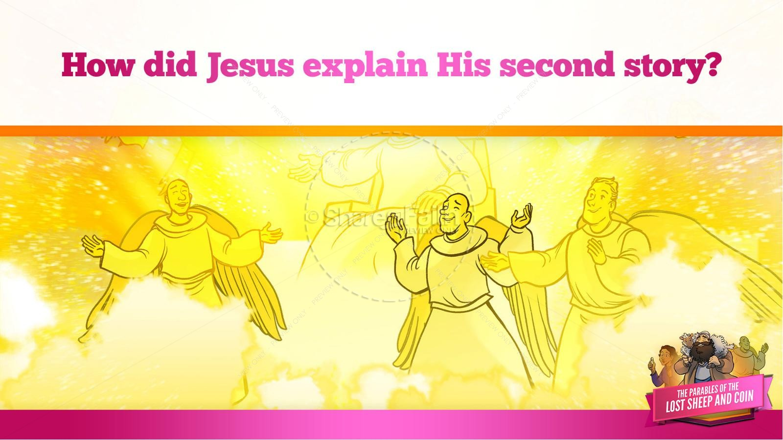 Luke 15 The Parables of the Lost Sheep and Coin Kids Bible Story | slide 35