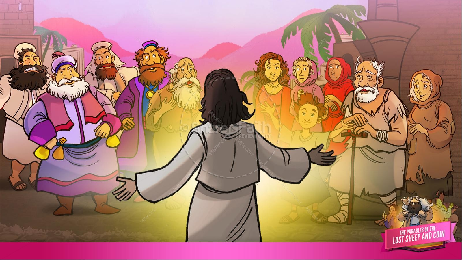 Luke 15 The Parables of the Lost Sheep and Coin Kids Bible Story | slide 10