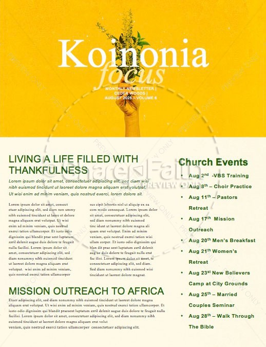 Generous Flowers Church Newsletter | page 1