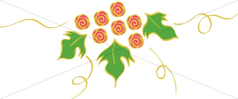 Rose Symbols with Green Leaves
