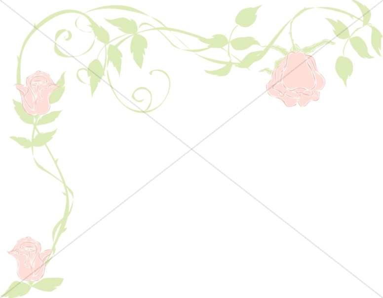 Faded Pink Rose Page Corner Spring Borders