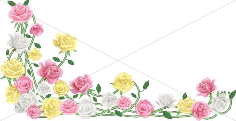 Realistic Spring Flower Spray Corner
