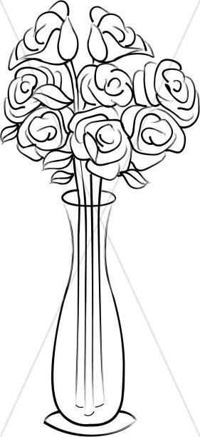 Roses in a Tall Vase