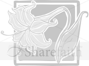 Grayscale Easter Lily in Frame