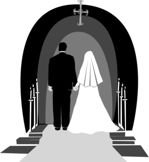 Wedding Couple in Grey, Black and White