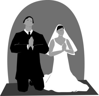 Greyscale Praying Bride and Groom