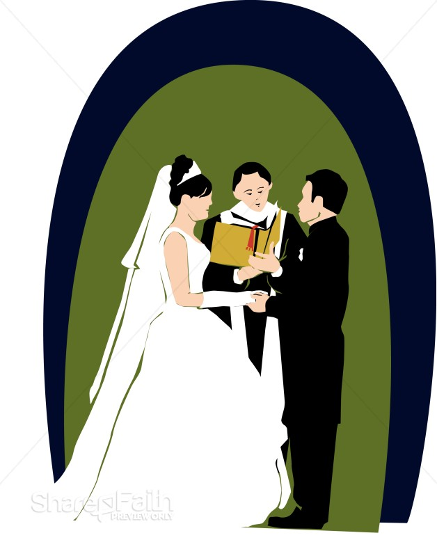 Preacher Wedding Altar: Christian Wedding Clipart