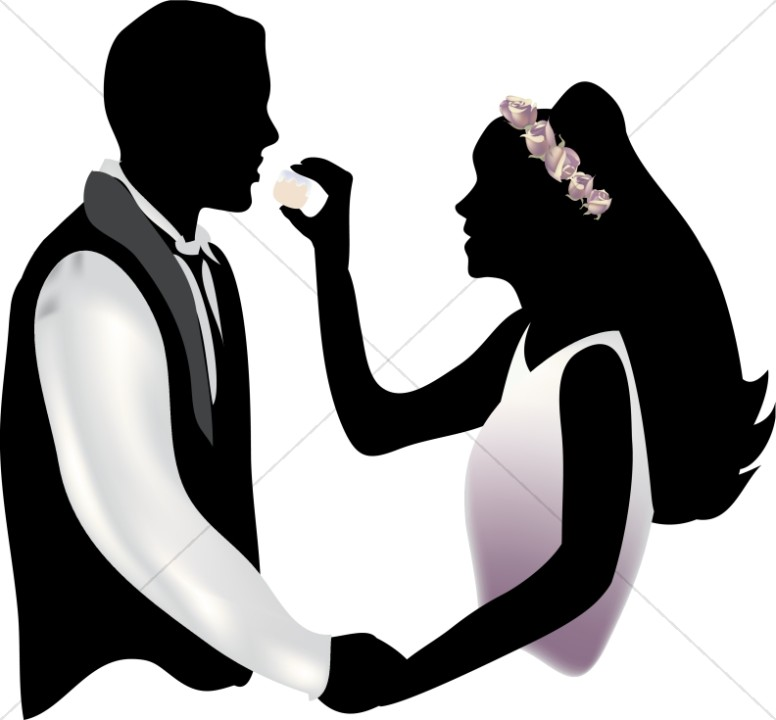 Bride Feeding Cake To Groom Christian Wedding Clipart