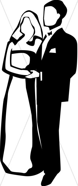 Black and White Couple Christian Wedding Clipart