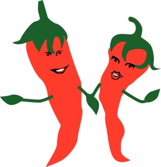 Hot Peppers Holding Hands