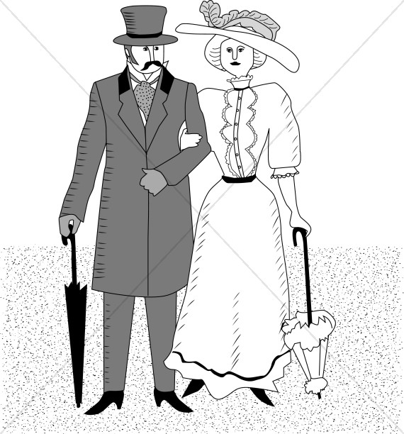 Black and White Victorian Cartoon Couple