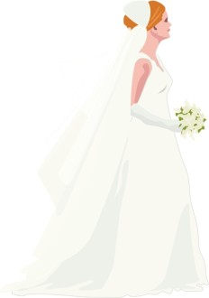 Bride During Processional in Elegant White Dress