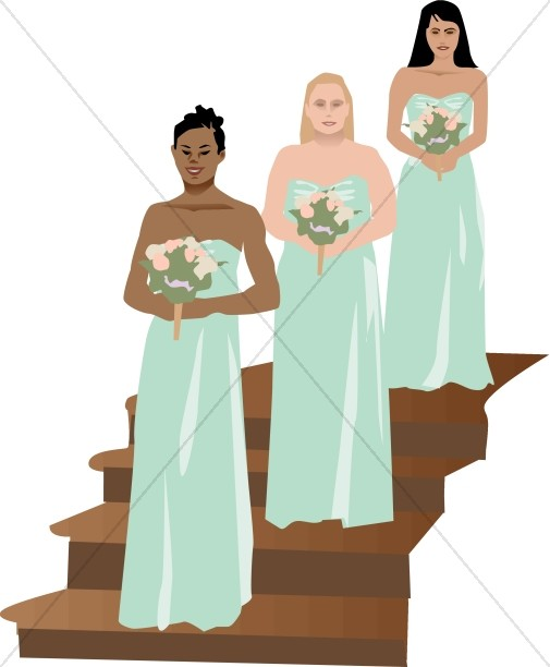 Bridesmaids Stand at the Sides of the Altar