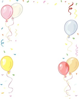 Balloons and Confetti Border