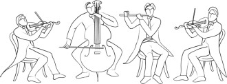 Quartet of Musicians Line Drawing