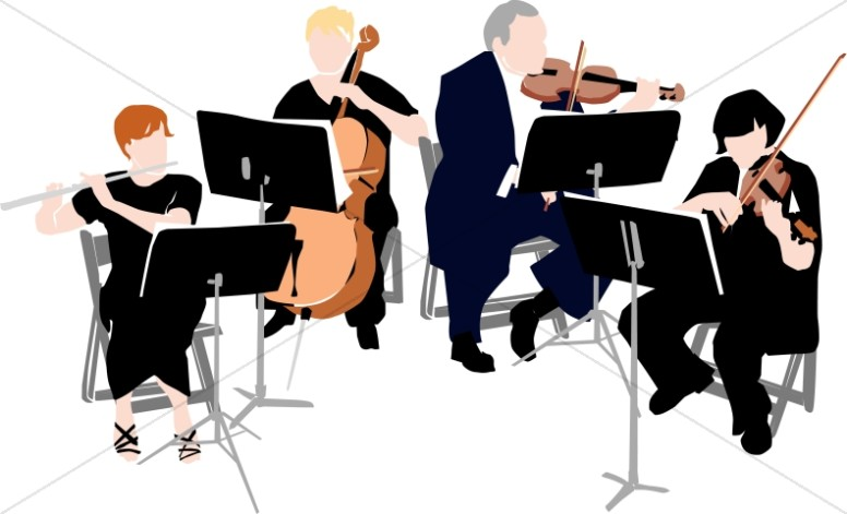Classical Quartet in Black Garb : Church Music Clipart