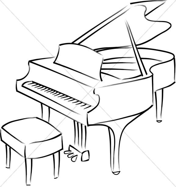 Baby Grand Piano Line Art