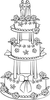 Three Level Cake with Bride and Groom Topper