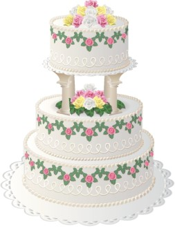 Floral Cake with Top Tier on Columns